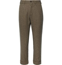 Engineered Garments Cropped Puppytooth Pleated Woven Trousers Brown