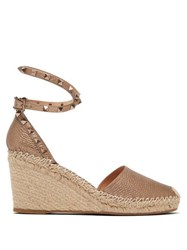 Valentino Rockstud Leather Espadrille Wedges Gold