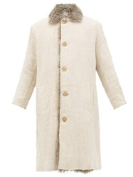 By Walid Nadim Shearling Lined Canvas Military Coat Beige