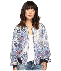 Free People Daytrip Printed Bomber Navy Women's Coat