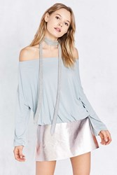 Silence And Noise Free Bird Dolman Sleeve Off The Shoulder Top Grey