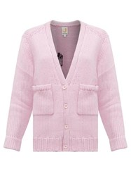 Joostricot Smiley Embroidered Wool Blend Cardigan Light Pink