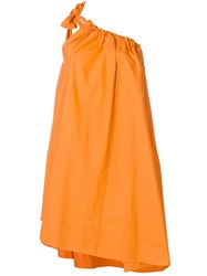 Ter Et Bantine Ruched One Shoulder Dress Cotton Yellow Orange