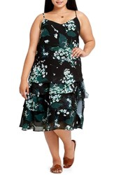 Elvi Plus Size Beryl Floral Tiered Slipdress Black