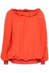 Missoni Ruffle Trimmed Woven Blouse Bright Orange