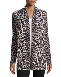 Neiman Marcus Cashmere Collection Open Front Cashmere Cardigan Animal Print