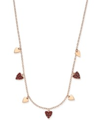 Danori Rose Gold Tone Pave Heart Collar Necklace Created For Macy's Red