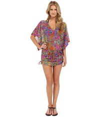 Luli Fama Gipsy Soul Cabana V Neck Dress Cover Up Multicolor Women's Swimwear