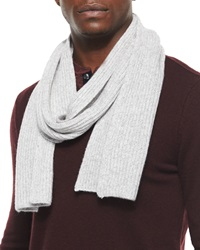 Vince Ribbed Cashmere Scarf Gray