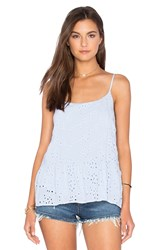 Velvet By Graham And Spencer Marisa Rayon Eyelet Tank Blue