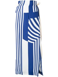 Erika Cavallini Striped Maxi Skirt Women Viscose 42 Blue