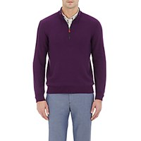 Inis Meain Men's Half Zip Sweater Purple
