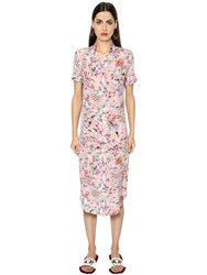 Stella Jean Short Sleeve Silk Crepe De Chine Dress