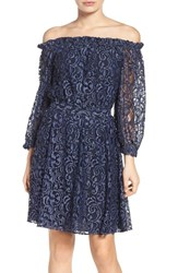 Chelsea 28 Women's Chelsea28 Lace Off The Shoulder Dress Navy Peacoat Combo