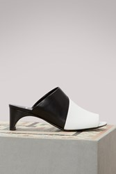 Pierre Hardy Leather Heeled Mules White Black