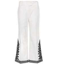 Tory Burch Embroidered Cotton Trousers White
