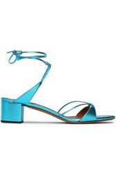 Missoni Woman Knotted Metallic Leather Sandals Turquoise