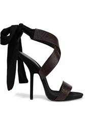 Giuseppe Zanotti Textured Leather And Suede Sandals Dark Brown