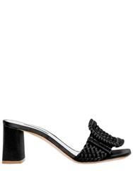Casadei 60Mm Buckled Woven Satin Mule Sandals Black