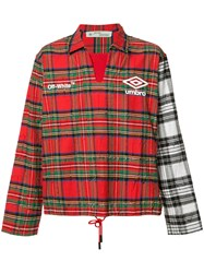Off White Plaid Pattern Sport Jacket Red