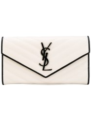 Saint Laurent Large Monogram Flap Wallet Women Leather One Size White