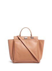 Rodo Leather Trapeze Tote Brown