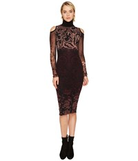 Fuzzi Cut Out Shoulder Long Sleeve Turtleneck Layered Lace Dress Cover Up Plum Women's Dress Purple