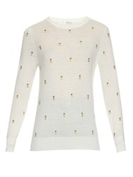 Equipment Shane Pineapple Embroidered Sweater Ivory Multi