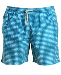 Barbour Men's Tailored Fit Gingham Swim Trunks Turq Aqua