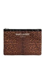 Saint Laurent Beach Animalier Cotton Canvas Clutch