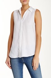 Andrea Jovine Sleeveless Collared Blouse White