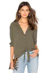 1.State Long Sleeve Tie Front Top Olive