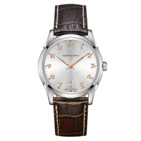 Hamilton H38511513 Men's Jazzmaster Thinline Date Leather Strap Watch Brown Silver