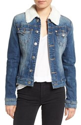 True Religion Women's Brand Jeans Western Dusty Faux Shearling Collar Denim Jacket