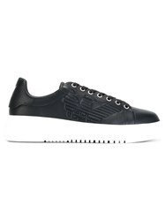 Emporio Armani Lace Up Trainers Blue