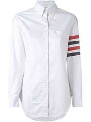 Thom Browne Long Sleeve Button Down With Woven 4 White