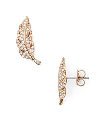Nadri Pave Feather Stud Earrings Rose Gold Clear