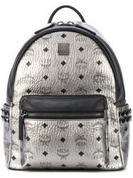 Mcm Metallic Grey Studded Backpack Men Leather One Size