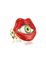 Bernard Delettrez Bronze Mouth Ring With Eye Red