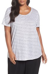 Eileen Fisher Plus Size Women's Organic Linen Stripe Tee White Black