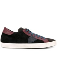 Philippe Model Contrast Panel Lace Up Sneakers Black