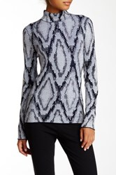 Pink Tartan Printed Mock Neck Top White
