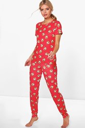 Boohoo Christmas Pudding Tee And Jogger Pj Set Red