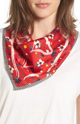 Marc Jacobs Women's Hearts And Flowers Square Silk Scarf Red Multi