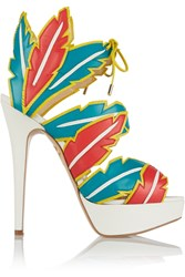 Charlotte Olympia Leather Platform Sandals Blue