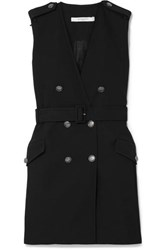 Givenchy Belted Double Breasted Grain De Poudre Wool Mini Dress Black