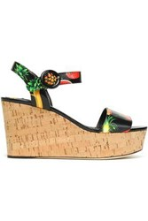 Dolce And Gabbana Printed Patent Leather Wedge Platform Sandals Black