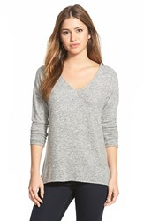 Petite Women's Gibson 'Yummy Fleece' High Low V Neck Pullover Heather Grey