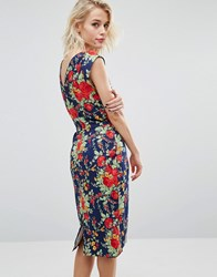 Trollied Dolly Chic V Back Retro Floral Print Dress Navy Floral