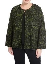 Ming Wang Floral Print Knit Jacket Green